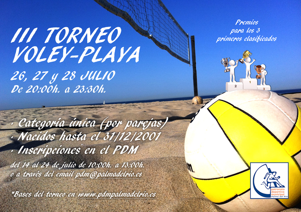 III TORNEO VOLEY PLAYA: 26, 27 Y 28 DE JULIO